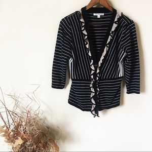 CAbi Large Ruffle Button Front Cardigan